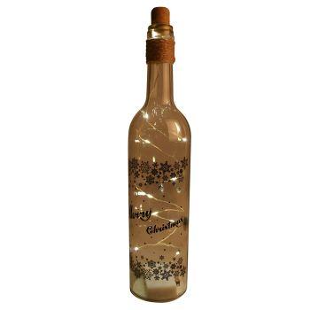 Christmas LED Glass Bottle 3 Assorted Colours