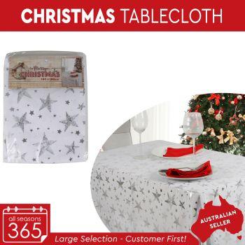 Christmas Table Cloth Metallic Star Print