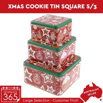 Xmas Cookie Tin Square Set of 3