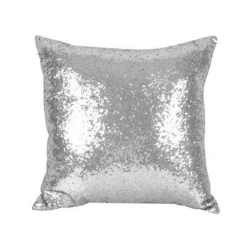 Sequin Christmas Cushion Silver