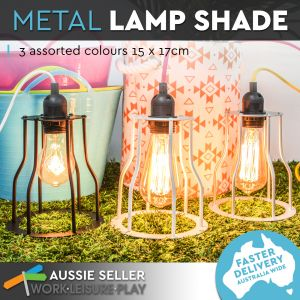 Luminite Pendant Cage Metal Lamp White 15X17CM