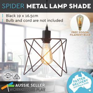 Luminite Pendant Lamp Metal Shade Spider Black 19X16.5CM